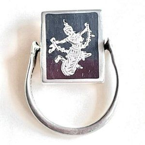 Vintage Siam Sterling Nielloware Double-sided Ring